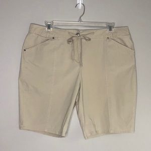 Architect tan light weight tie front shorts